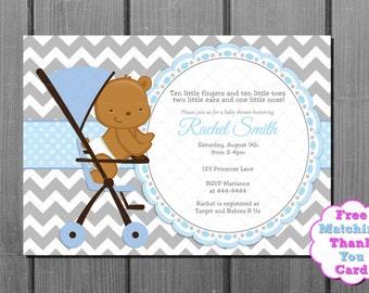 Boy Baby Shower Invitation and FREE Thank You Card - Baby Boy Shower - Blue Grey Chevron Printable - Bear Baby Shower - Teddy Bear
