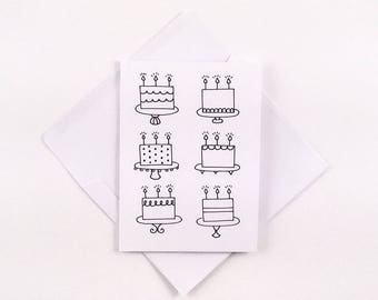 Cute Birthday Card / Cake Card / Cake Birthday Card / Minimalist Birthday Card / Black and White Card /  Cute Cake Card / Enjoy Your Day