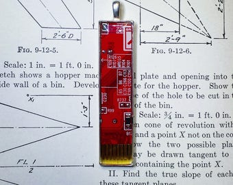 Circuit Board Pendant - Red Brass Bars