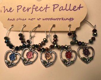 rose heart wine charms