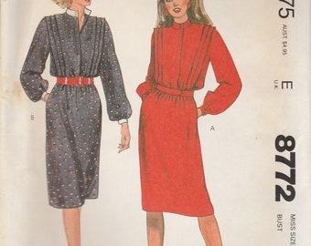 80s Dress Pattern McCalls 8772 Size 10 Uncut