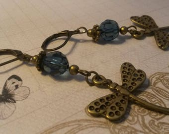 Blue Crystal and Dragonfly charm earrings