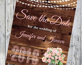 Woodgrain with Roses And Light Save the Date
