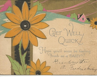 Vintage 1920's Mechanical Get Well Greeting Card