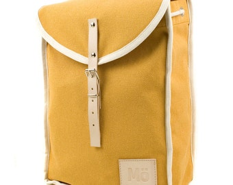 Yellow Heap Backpack, Retro, Vintage Inspired, Canvas and Leather Yellow Bag - Women's Backpack