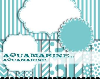 Blue frame clip art, aqua digital paper baby chevron, Aqua blue clipart, circle frame, ornate frame : p0176 3s2250 IP