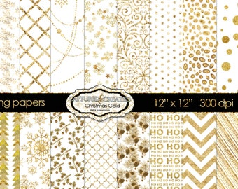 24 Christmas Gold Decorative Digital Papers Collection- Scrapbook Papers
