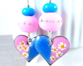 Pink Aqua Blue Heart Enamel Earrings, Boho Dangle Earrings, Yellow White Floral Enameled Copper Jewelry, Romantic, Unique, OOAK, Lampwork