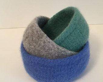 Felted Wool Nesting Bowls, Felted Bowl Set, Blue, Gray, Seafoam Nesting Bowls, Home Decor, Mother's Day Gift, Baby Shower, Housewarming Gift