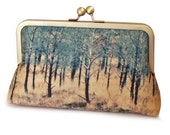 Clutch bag, trees purse, Scottish woods, printed silk, gift box, TORRIDON TREES