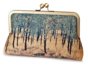 Clutch bag, trees purse, Scottish woods, printed silk, gift box, TORRIDON TREES