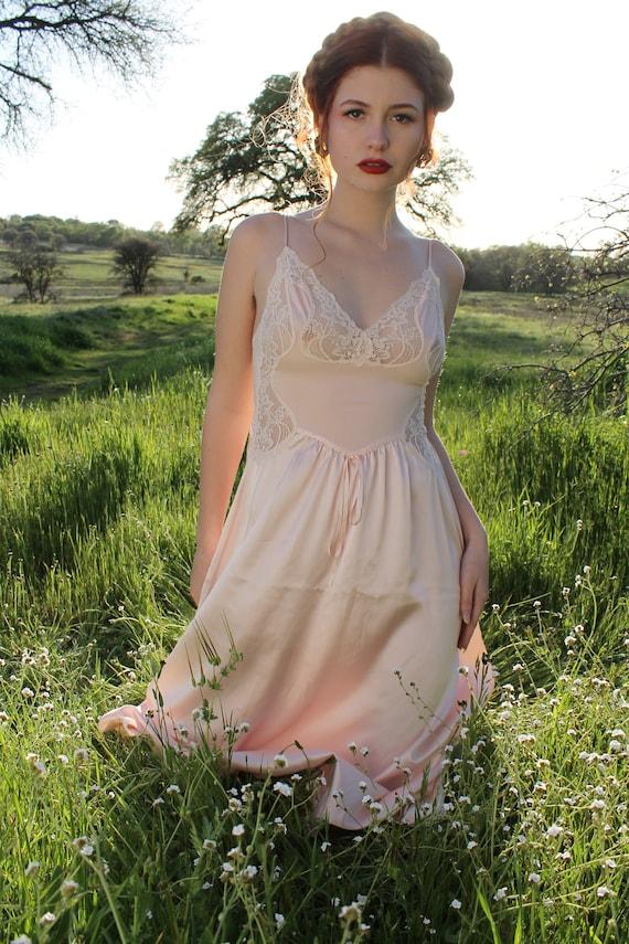 PIROUETTE Vintage Olga Slip Dress 1970's Intimates Pink Lace Nylon and Satin Slip Dress Undergarment Layering Size Small Style 91064