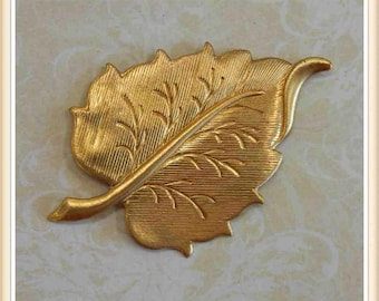 4 pieces raw brass leaf charm stamping component embellishment ornament #2251