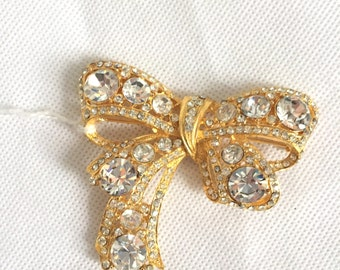 1950s brooch, oversized gilt and rhinstone bow