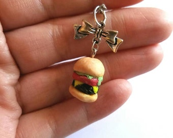 Cheeseburger Necklace Mini Cheeseburger Bow Necklace Fast Food Necklace Hamburger Necklace Polymer Clay Necklace Handmade Necklace