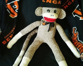 Cincinnati Bengals Sock Monkey, Cincinnati Bengals Sock Monkey Toy, Handmade Item, Bengals Sock Monkey Doll