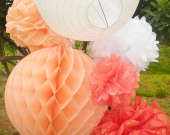 Coral ombre tissue pom poms, honeycomb balls, paper lanterns, peach coral white