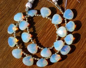 """9"""" Long 20 Pcs 10 Match Pair 10x10 mm opalite quartz Faceted Heart Cut Briolettes, Loose Gemstone Briolette Beads A93"""