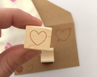 Itty Bitty Heart Stamp // DIY wedding favors, wedding invites, save the dates. Ready to ship.