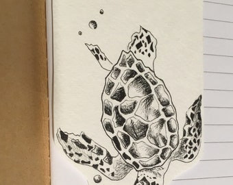 Sea turtle bookmark drawn with pigment ink