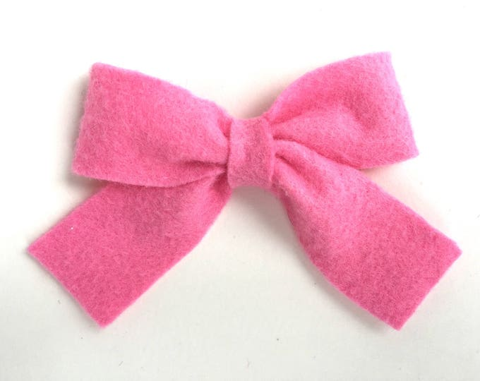 Pink sailor bow - felt bows, hair bows, bows, hair clips, hair bows for girls, hair clip, hair clips for girls, baby bows, felt hair bow