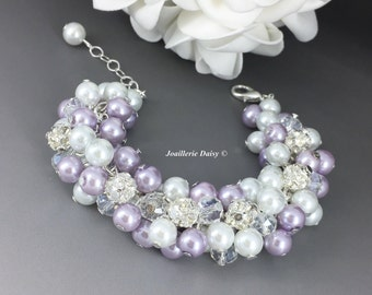 Lilac and White Pearl Cluster Bracelet Bridesmiad Bracelet Bridesmaids Gifts Chunky Bracelet Purple Bracelet White and Purple
