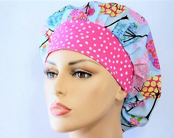 Pastel Trees Bouffant Surgical Scrub Hat - Pastel Trees with a Pink Polka Dot Headband For the Tree Huggers-Scrub Caps