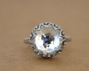 VINTAGE SPARKLES sterling silver ring with rare find top faceted vintage Swarovski clear crystal cab