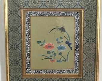 Silk Embroidery Textile Picture Green Gold 11 x 12 Asian Style Good Luck Spider Framed