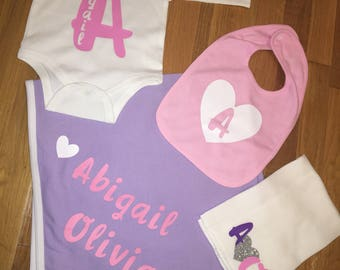 Personalized clothing accessories with a by sassysydsboutique personalized baby blanket onesies bibs and burp cloths negle Images