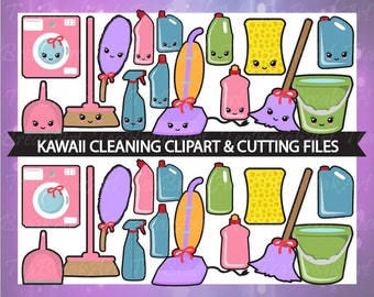 Kawaii cleaning Digital Clip Art Cutting Files Graphics Personal Commercial Use EPS SVG JPG jpeg(145C)
