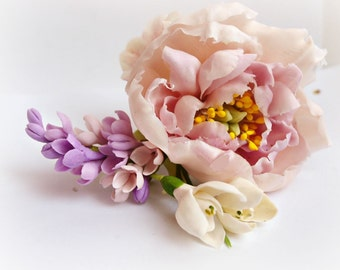 Barrette with Peony and Lilac - Wedding Hair Pieces - Barrettes - Women Hair Accessories - Flower Floral Barrettes - Gift