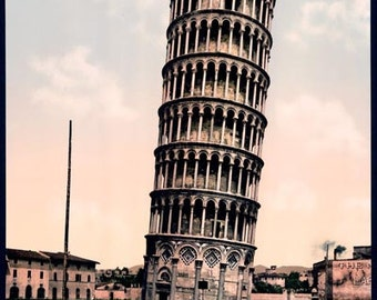PC02 Vintage Photograph Italy Leaning Tower Pisa Italian Poster Re-Print Wall Decor A3