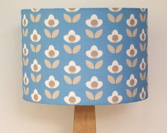 Tulip print drum lampshade - Blue