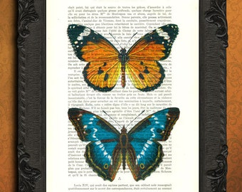 butterfly art colorful butterflies print upcycled book page dictionary art orange blue butterfly decor