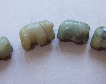 Four Old Green Jade Elephant Beads from Burma, Folk Burmese Jewelry, FREE SHIPPING