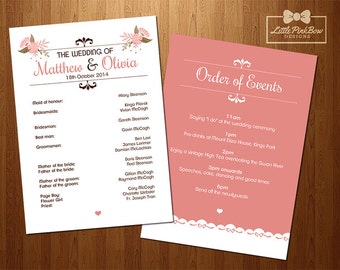 Wedding Program Printable - Wedding Party Names and Order of Events Printable Set, Wedding Date Schedule