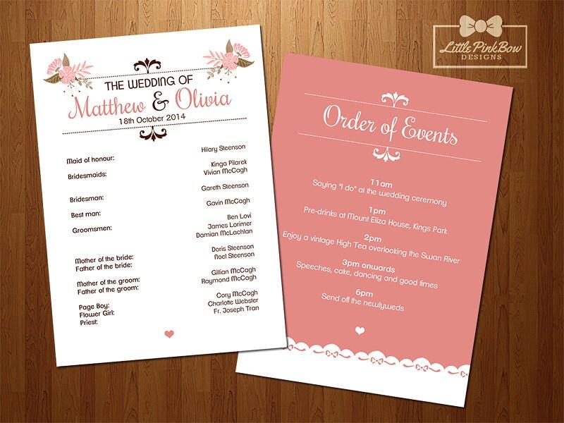 Wedding Program Printable Wedding Party Names and Order of
