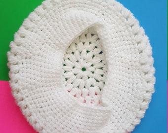 White Crochet Beret - Medium Size