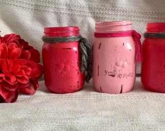A set of 3 Mason jars, old Rose