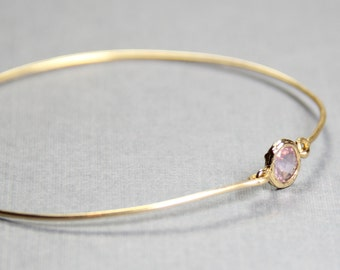 Lavender Bangle Bracelet- BridesMaid Gift - Gemstone Bracelet-