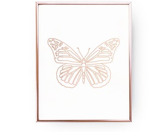 Geometric Butterfly, Rose Gold Foil, Butterfly Print, Butterfly Art, Butterfly Wall Art,Butterfly Poster, Rose Gold Nursery Print,Insect Art
