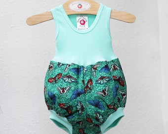 Aqua Butterfly Baby Girl Romper Summer Baby Girl Clothes New Baby Girl Gift Baby Girl Outfit Cotton Baby Romper Baby Girl Bubble Romper