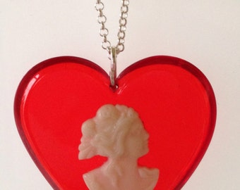 Vintage Red Heart Cameo Pendant-Vintage Large Red Heart Necklace-Resin Jewelry- Valentine's Day Gift Idea- Vintage Heart Jewelry