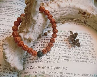 Rudraksha and lavastone essential oil diffuser bracelet