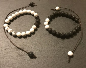 Handmade 8mm Natural Opposites Attract Diffuser Tie Bracelet 3 Lava Rock and Howlite Chakra
