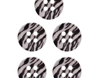 Nylon Button  with Subliminal  Print -  Zebra Pattern - 4 Hole