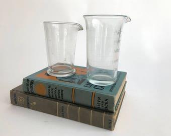Graduated Beaker - Vintage Embossed Glass Beaker - Lab Beaker - Science - Industrial - Repurpose Lab Beaker - Chemistry Beaker //LN55