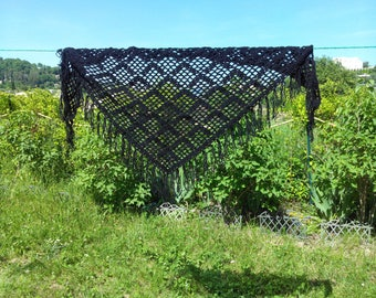 large black crochet fringe shawl