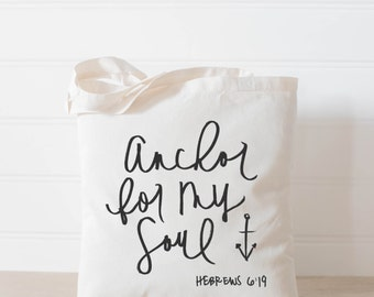 Anchor For My Soul, present, housewarming gift, tote bag, tote, Bible verse, inspirational, womens gift, christian gift, overnight bag